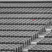 Fenway Park Red Chair Number 21 Bw Art Print