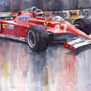 Ferrari 126c 1981 Monte Carlo Gp Gilles Villeneuve Art Print by Yuriy  Shevchuk
