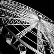 Ferris Wheel Against Black Sky Art Print