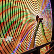 Ferris Wheel  Closeup Night Long Exposure Art Print