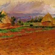 Field And Haystacks 1885 Art Print