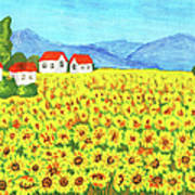 Field With Sunflowers Art Print