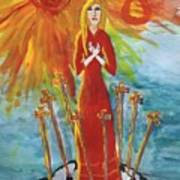 Fiery Eight Of Swords Illustrated Art Print