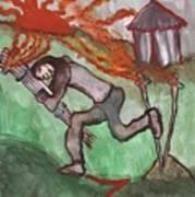 Fiery Seven Of Swords Illustrated Art Print