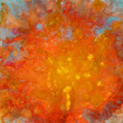 Fiery Sunset Abstract Painting Art Print