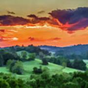 Fiery Sunset On The Farm Art Print