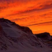 Fiery Sunset Over The Dunes Art Print