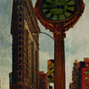 Fifth Avenue Clock And The Flatiron Building Art Print