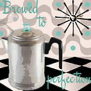 Fifties Kitchen Coffee Pot Perk Coffee Art Print