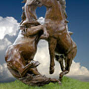 Fighting Stallions Art Print