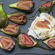 Figs Dessert With Mascarpone Art Print
