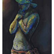 Figure Hat And Scarf Art Print