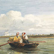 Figures In A Boat On The Thames, Gravesend Art Print