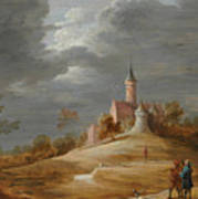 Figures In A Landscape With A Castle Beyond Art Print