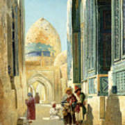 Figures In A Street Before A Mosque Art Print