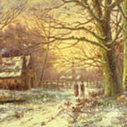 Figures On A Path Before A Village In Winter Art Print by Johannes Hermann Barend Koekkoek