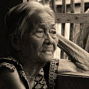 Filipino Lola Image Number 33 In Black And White Sepia Art Print