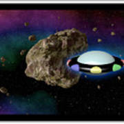 Film Frame With Asteroid And Ufo Art Print