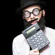 Financial And Accounting Genius With Calculator Art Print
