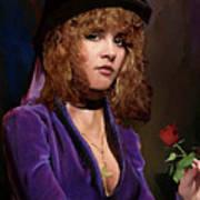 Fine Art Digital Portrait Stevie Nicks Crescent Moon Top Hat Art Print
