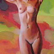 Fine Art Female Nude Jennie Standing Multimedia Painting Art Print