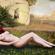 Fine Art Female Nude Niki Goddess Diana Reclining Multimedia Painting Art Print
