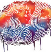 Finger Print Map Of The World Art Print