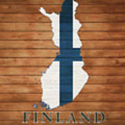 Finland Rustic Map On Wood Art Print
