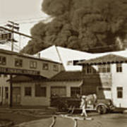 Fire At Cannery Row, Custom House Packing Company Sea Beach Cannery 1953 Art Print