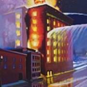 Fire At The Butternut Building Art Print by Bobbi Baltzer-Jacobo