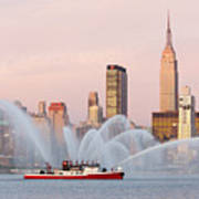 Fire Boat And Manhattan Skyline I Art Print by Clarence Holmes