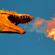 Fire Breathing Dragon Pano Work Art Print