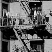 Fire Escape With Clothes Hung To Dry Art Print