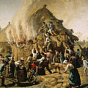 Fire In A Haystack, 1856 Art Print