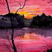 Fire In The Sky    Lake Arrowhead Maine Art Print