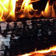 Fire On Wood Art Print