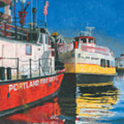 Fireboat And Ferries Art Print