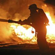 Firefighter In Silhouette Art Print