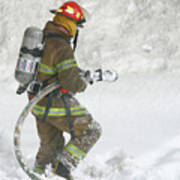 Firefighter In The Snow Art Print