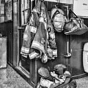 Fireman - Always Ready - Black And White Art Print