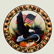 Fireman - Fire And Emergency Services Seal Art Print
