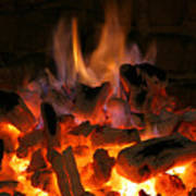 Fireplace Flames Print by Francisco Leitao