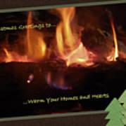 Fireside Christmas Greeting Art Print
