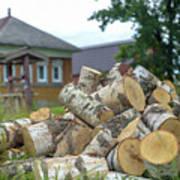 Firewood In The Village Art Print