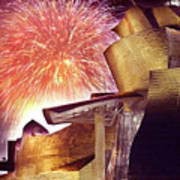 Fireworks At Guggenheim Art Print