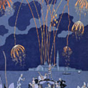 Fireworks In Venice Print by Georges Barbier