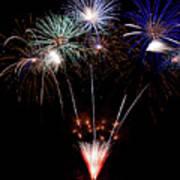 Fireworks Over Lake #14 Art Print