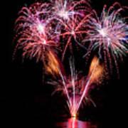 Fireworks Over Lake #15 Art Print