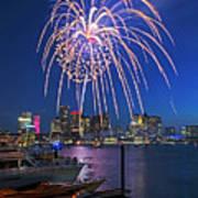 Fireworks Over The Boston Skyline Boston Harbor Illumination Streaming Down Art Print