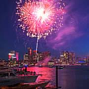 Fireworks Over The Boston Skyline Boston Harbor Illumination Art Print